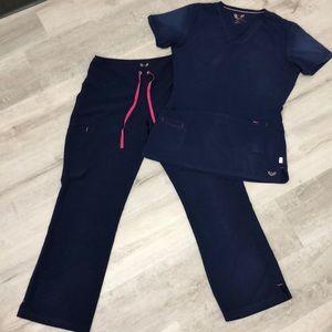 Smitten Navy Blue scrub set